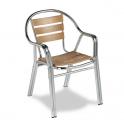 Sillon Modelo M270 Aluminio anodizado con asiento y respaldo en costillas de madera (Consultar disponibilidad)