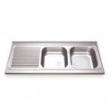 Fregadero Acero Inox. 1350x500 - 2 senos + escurridor izquierda(ver opciones)